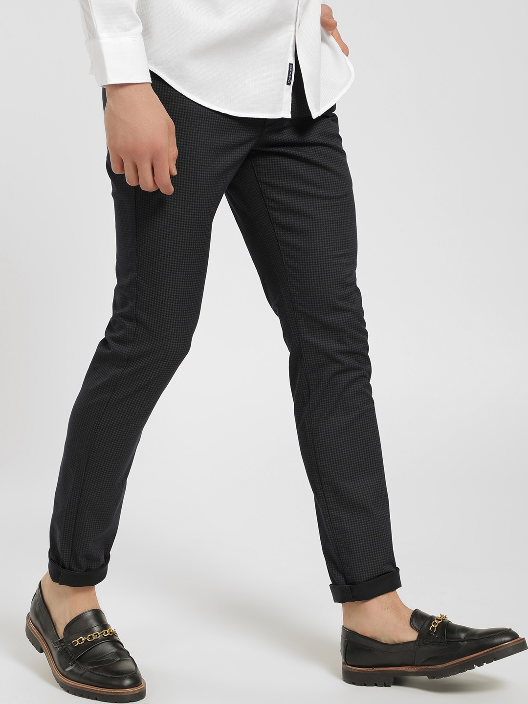 SCULLERS Black Micro-Check Print Slim Trousers 1