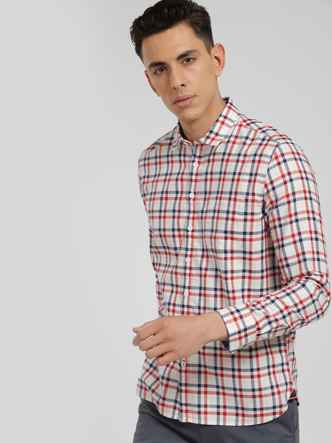 SCULLERS White Long Sleeve Multi-Check Shirt 1