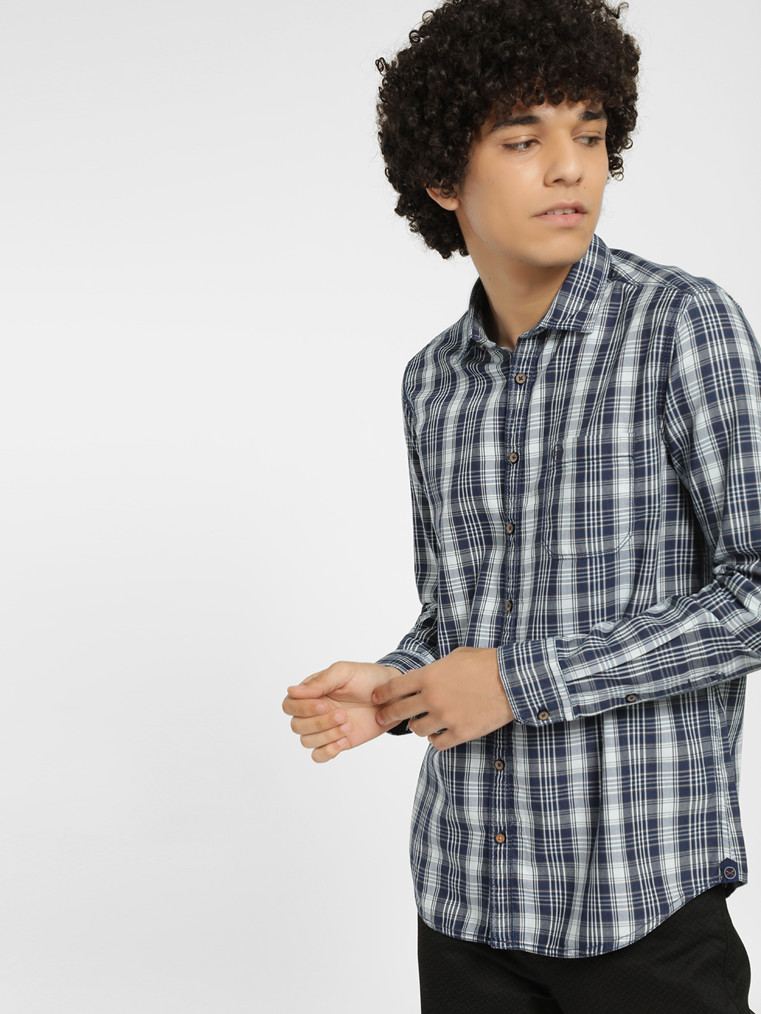 SCULLERS Blue Multi Check Casual Shirt 1