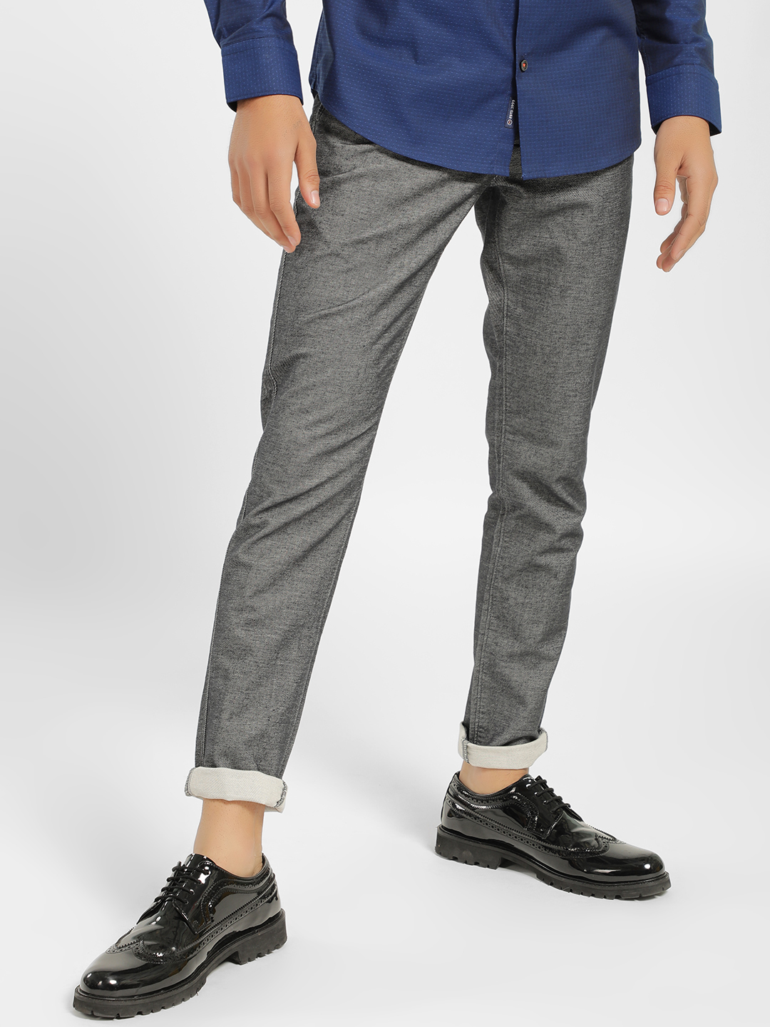 SCULLERS Black Textured Denim Slim Fit Trousers 1