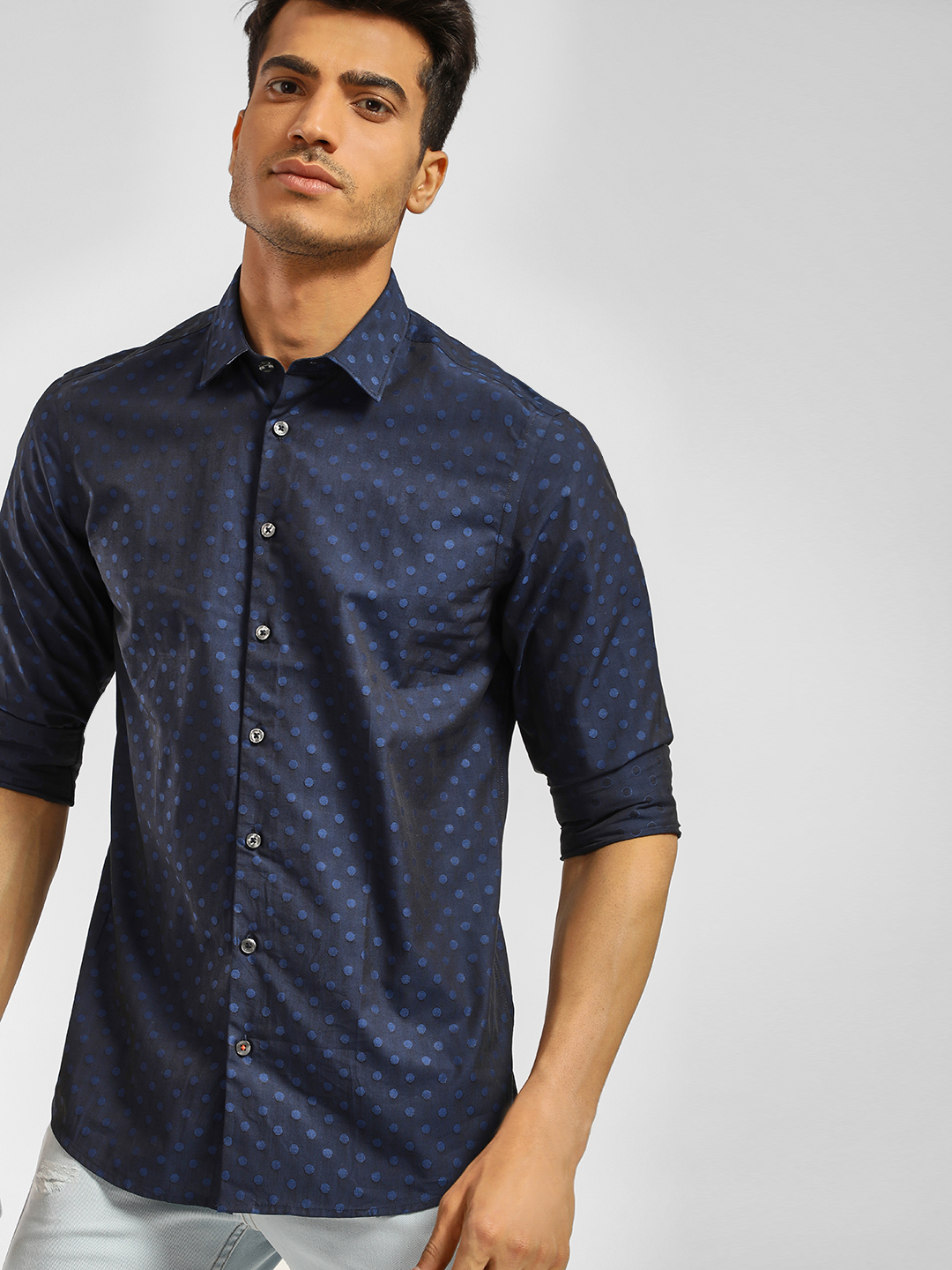 SCULLERS Blue Long Sleeve Circle Print Shirt 1