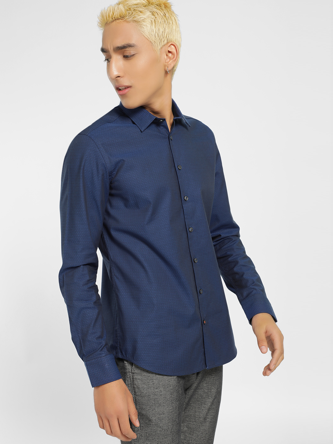 SCULLERS Blue Woven Slim Fit Casual Shirt 1