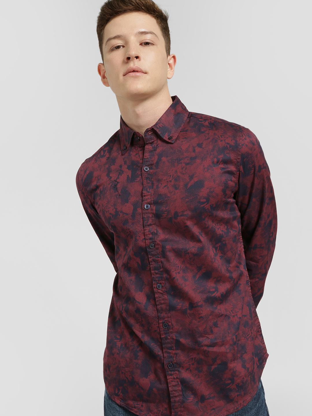 Lion & Hess Red Faded Floral Print Casual Shirt 1