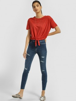 New Look Dark Wash Distressed Cropped Skinny Jeans