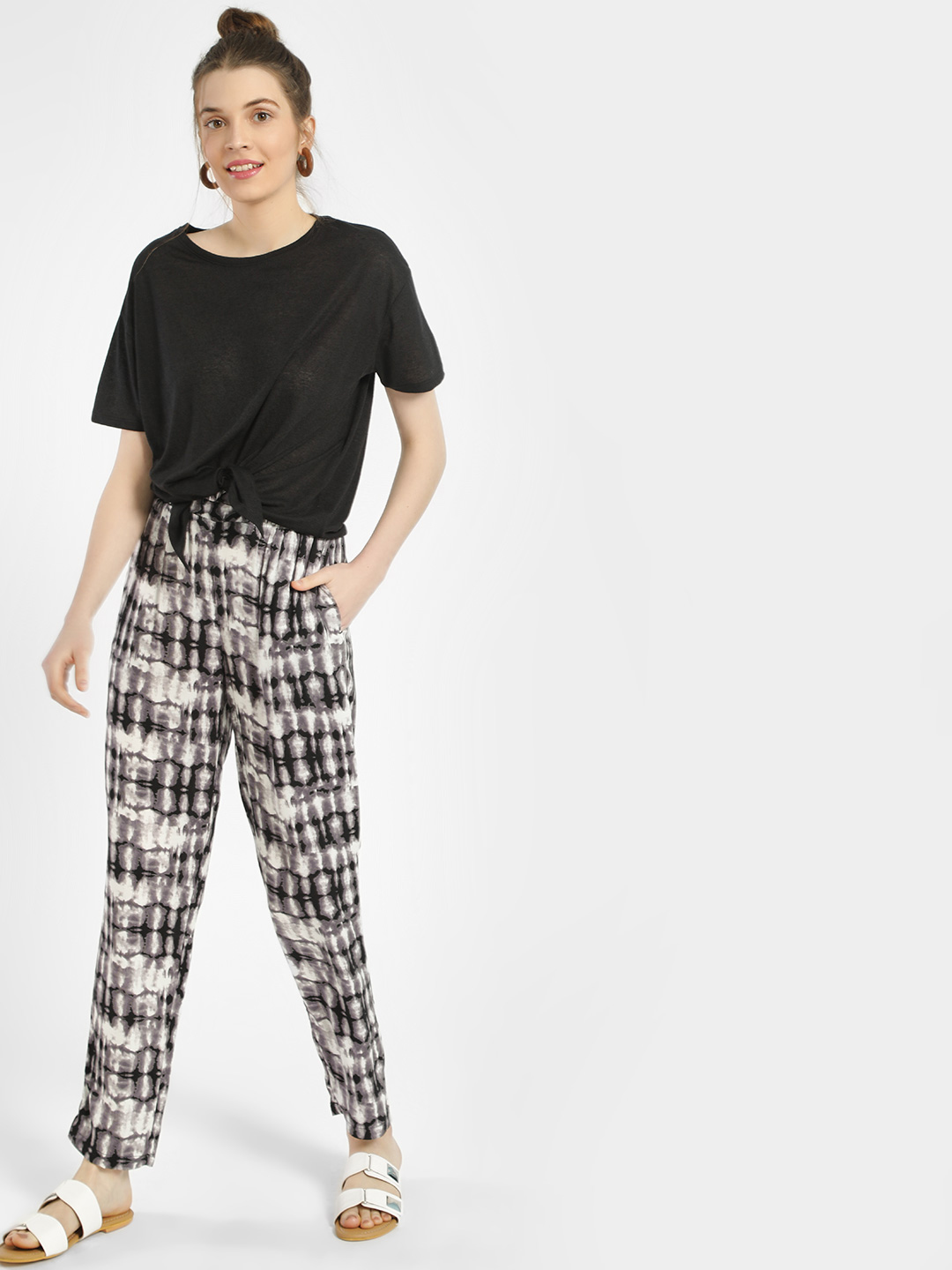 New Look Black Tie & Dye Drawcord Trousers 1