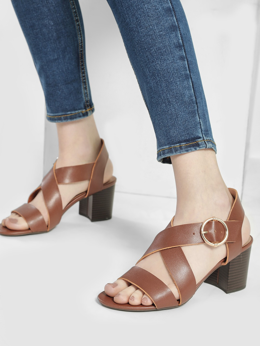 New Look Tan Cross Strap Block Heeled Sandals 1