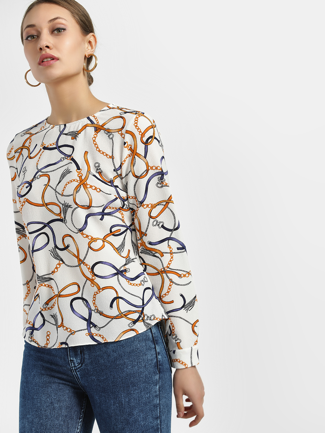 New Look WHITE PATTERN Chain Print Blouse 1