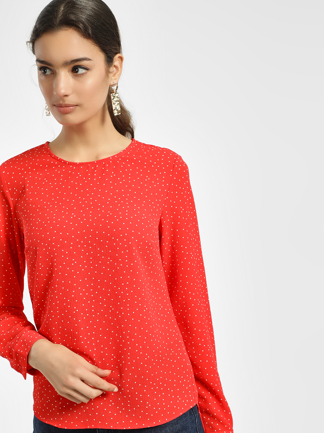 New Look RED PATTERN Polka Dot Print Blouse 1
