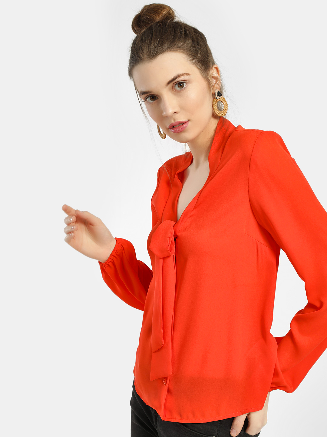 New Look Bright Orange Pussy Bow Casual Shirt 1