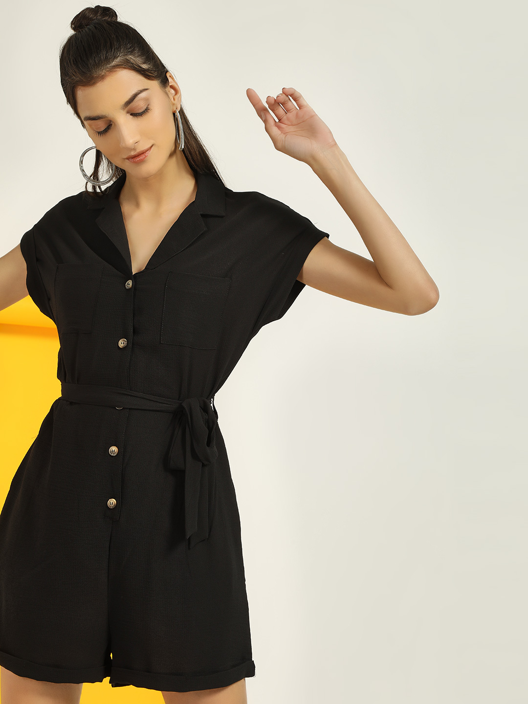 New Look Black Revere Collar Button-Up Playsuit 1