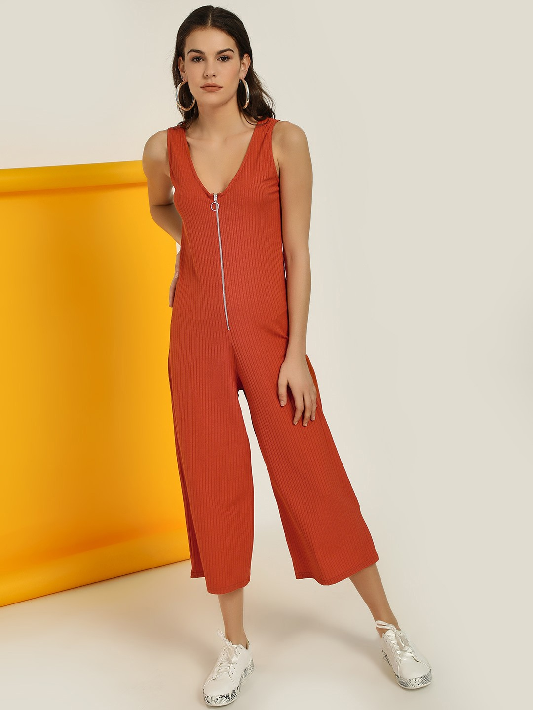 New Look Burnt Orange Ribbed Ring Zip-Up Jumpsuit 1