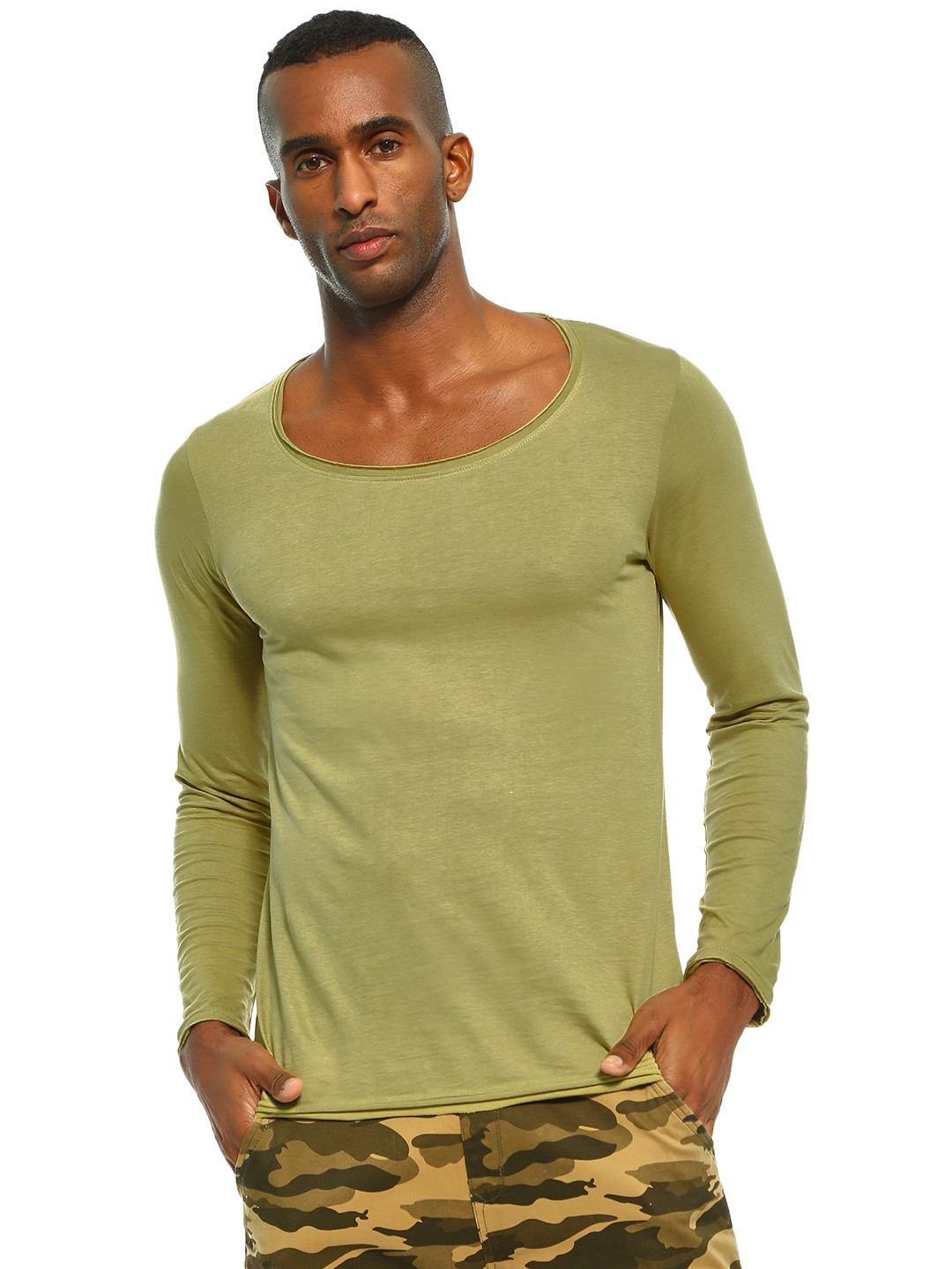 Blue Saint Green Long Sleeve Scoop Neck T-Shirt 1