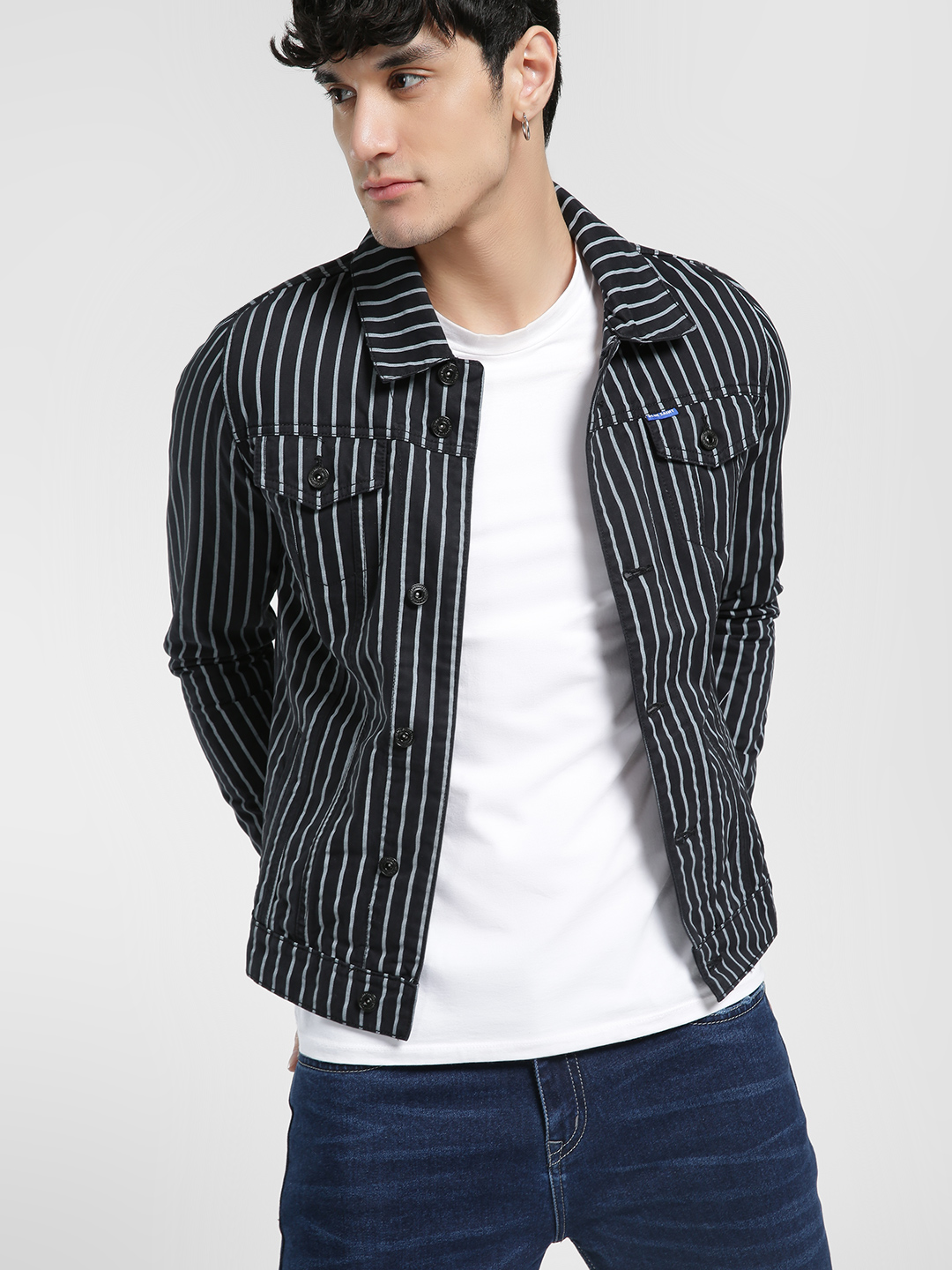Blue Saint Black Vertical Stripe Denim Jacket 1