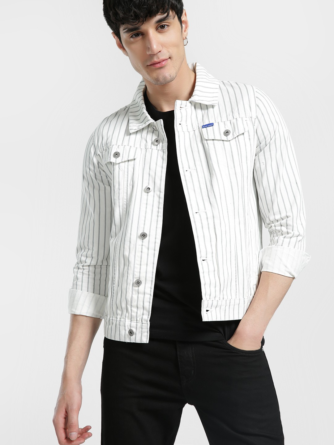 Blue Saint White Vertical Stripe Denim Jacket 1