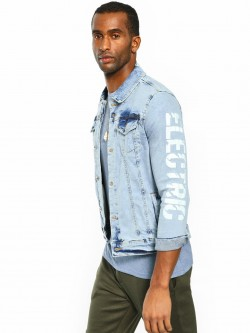 Blue Saint Bleach Wash Electric Print Denim Jacket