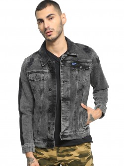 Blue Saint Acid Wash Side Tape Jacket