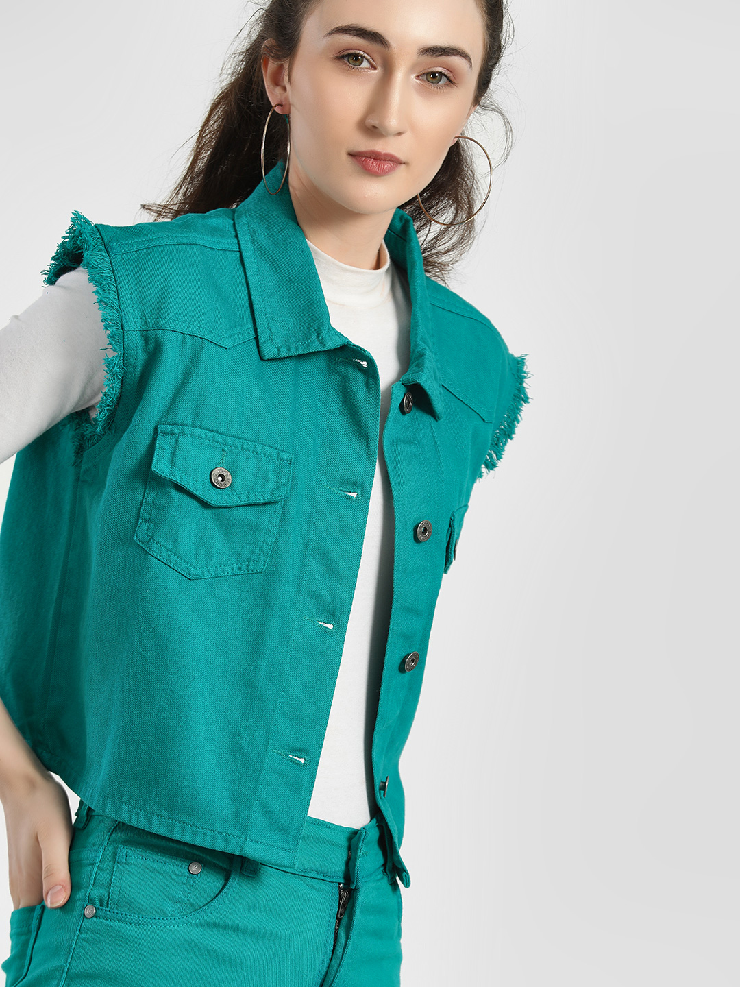 K Denim Green KOOVS Frayed Hem Crop Jacket 1