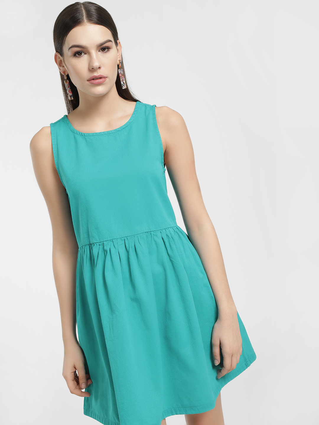 K Denim Green KOOVS Sleeveless Skater Denim Dress 1
