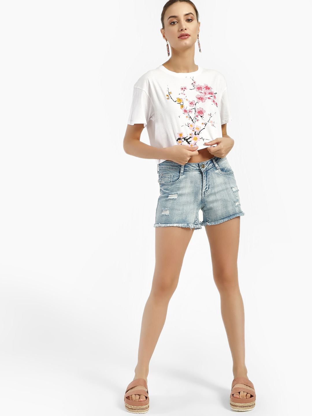 HEY Blue Light Wash Distressed Denim Shorts 1