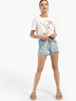 HEY Light Wash Distressed Denim Shorts