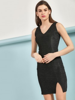 HEY V-Neck Shimmer Bodycon Dress
