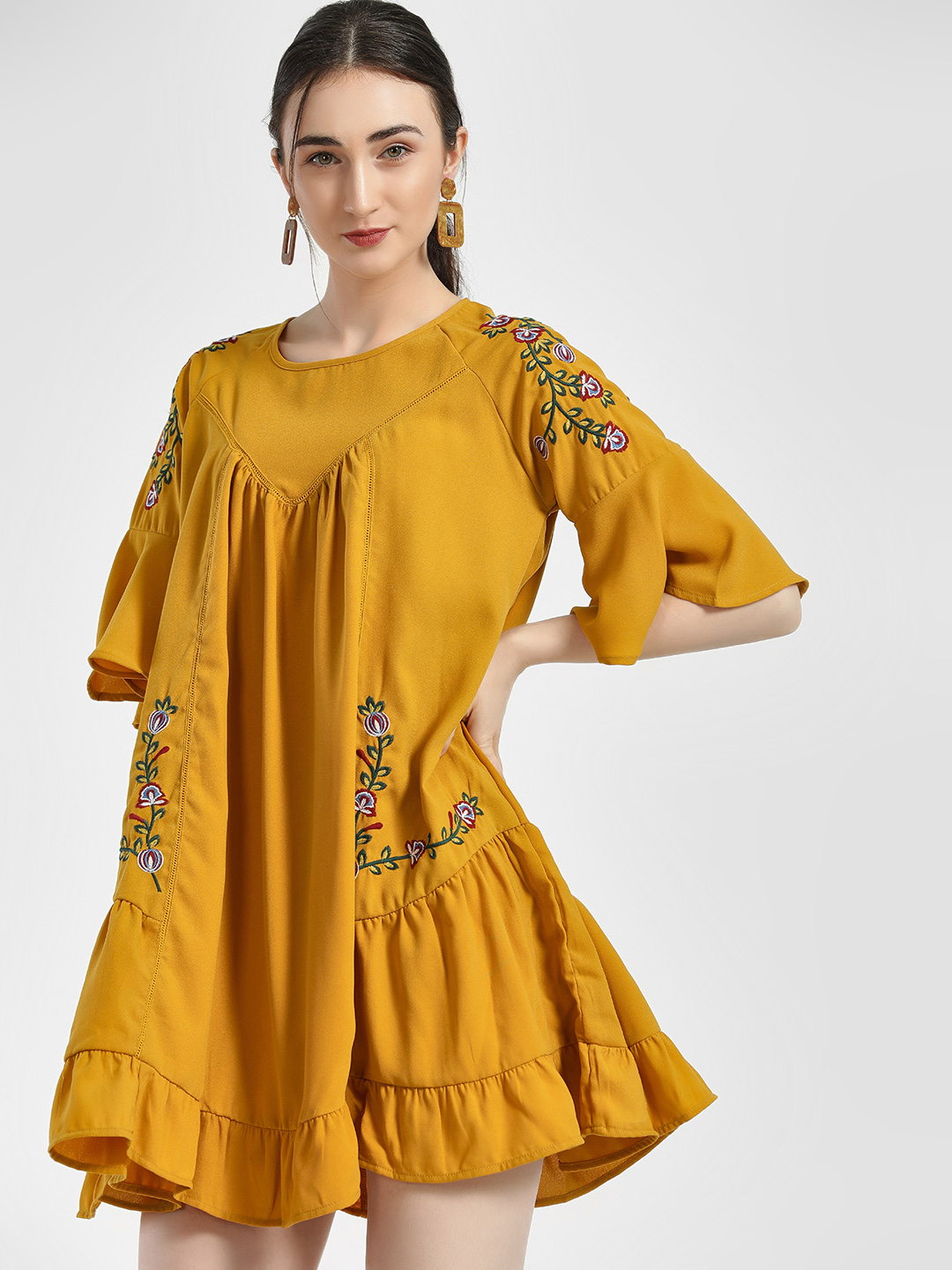 HEY Mustard Floral Embroidered Shift Dress 1