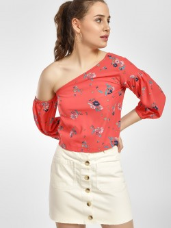 HEY Floral Print One Shoulder Crop Top