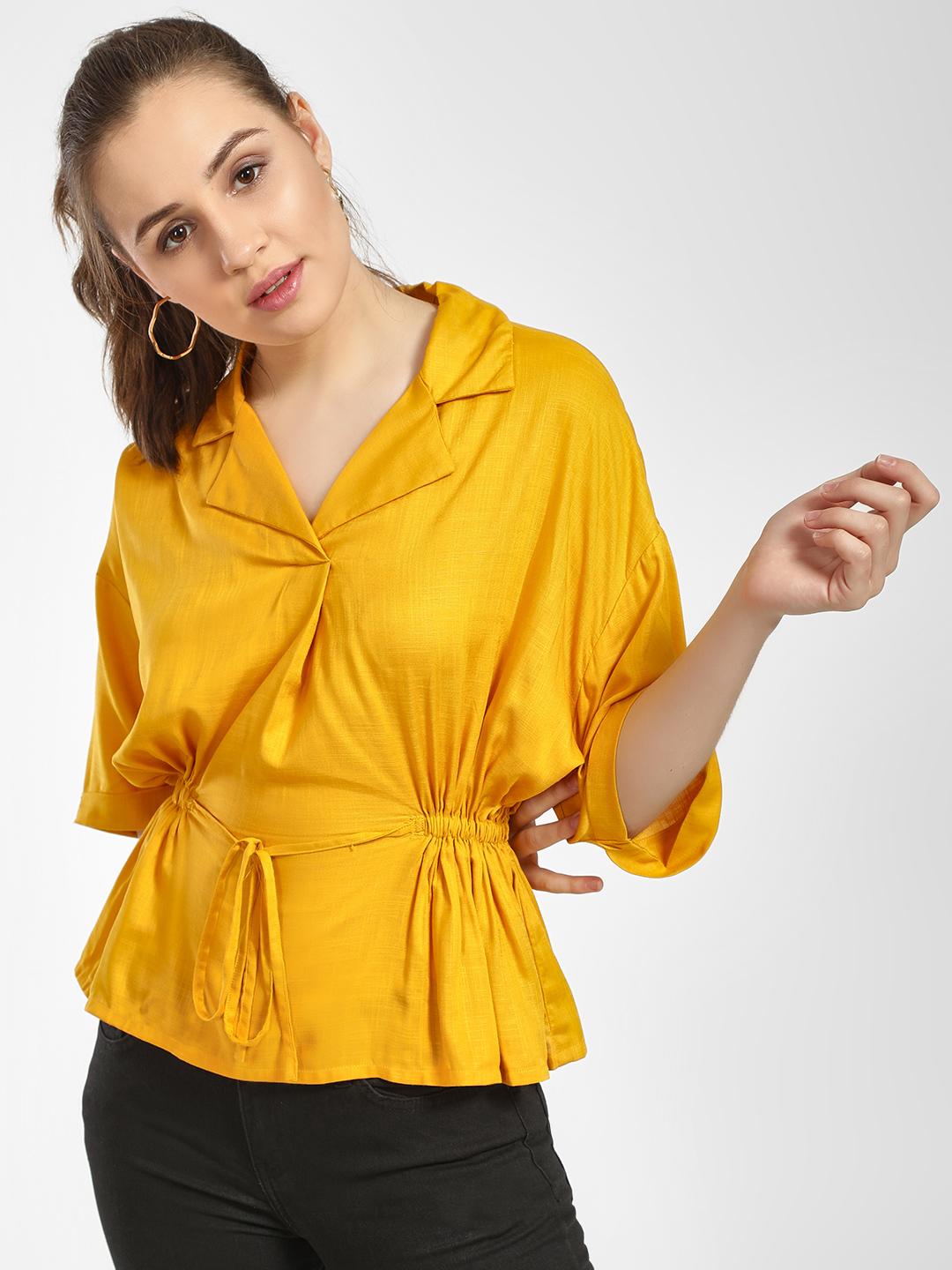 HEY Mustard Smocked Detail Front Tie-Knot Blouse 1