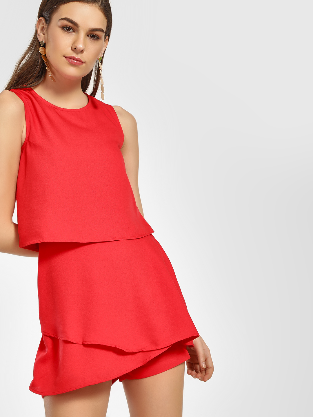 HEY Red Overlay Sleeveless Playsuit 1