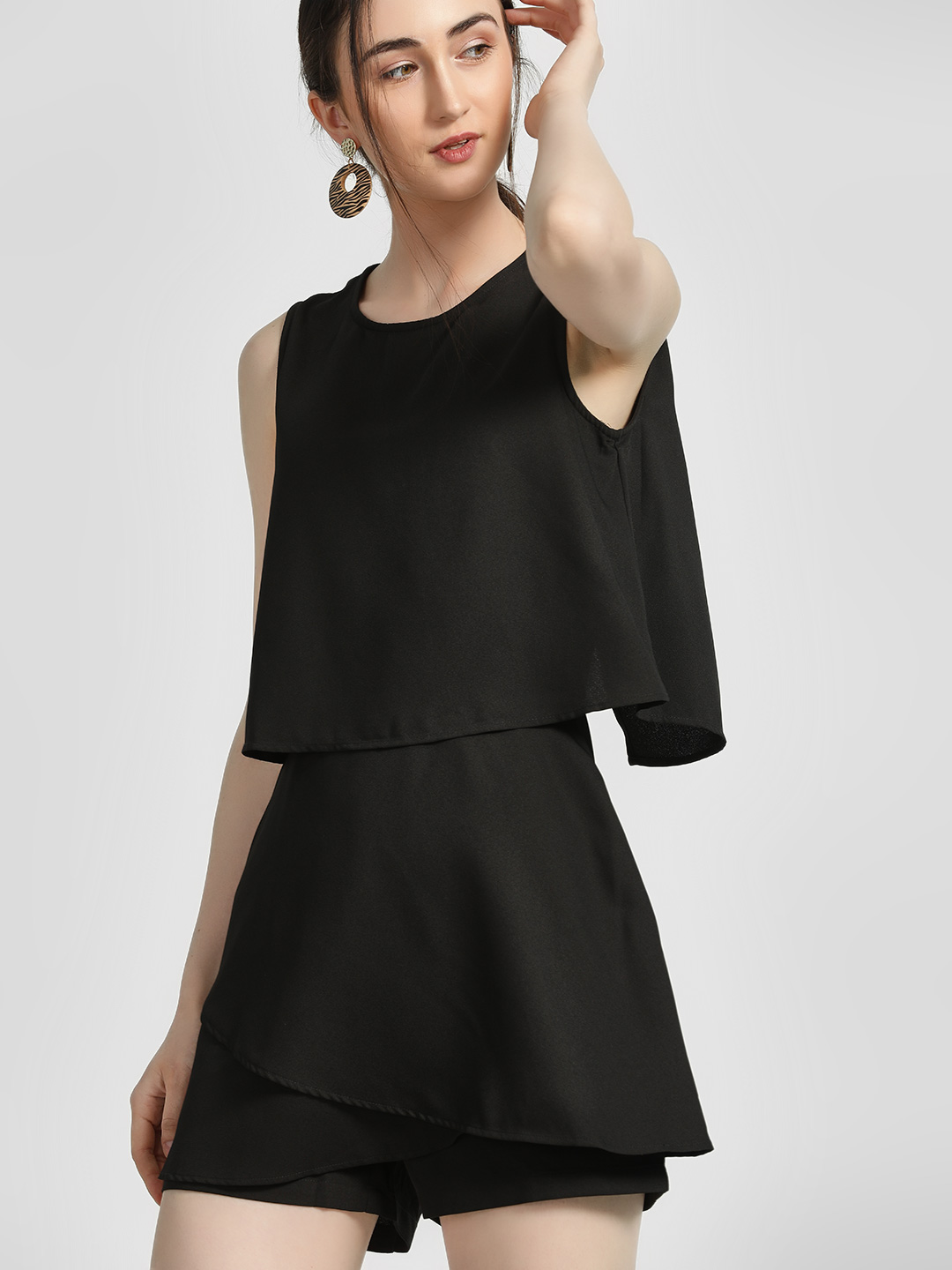 HEY Black Overlay Sleeveless Playsuit 1