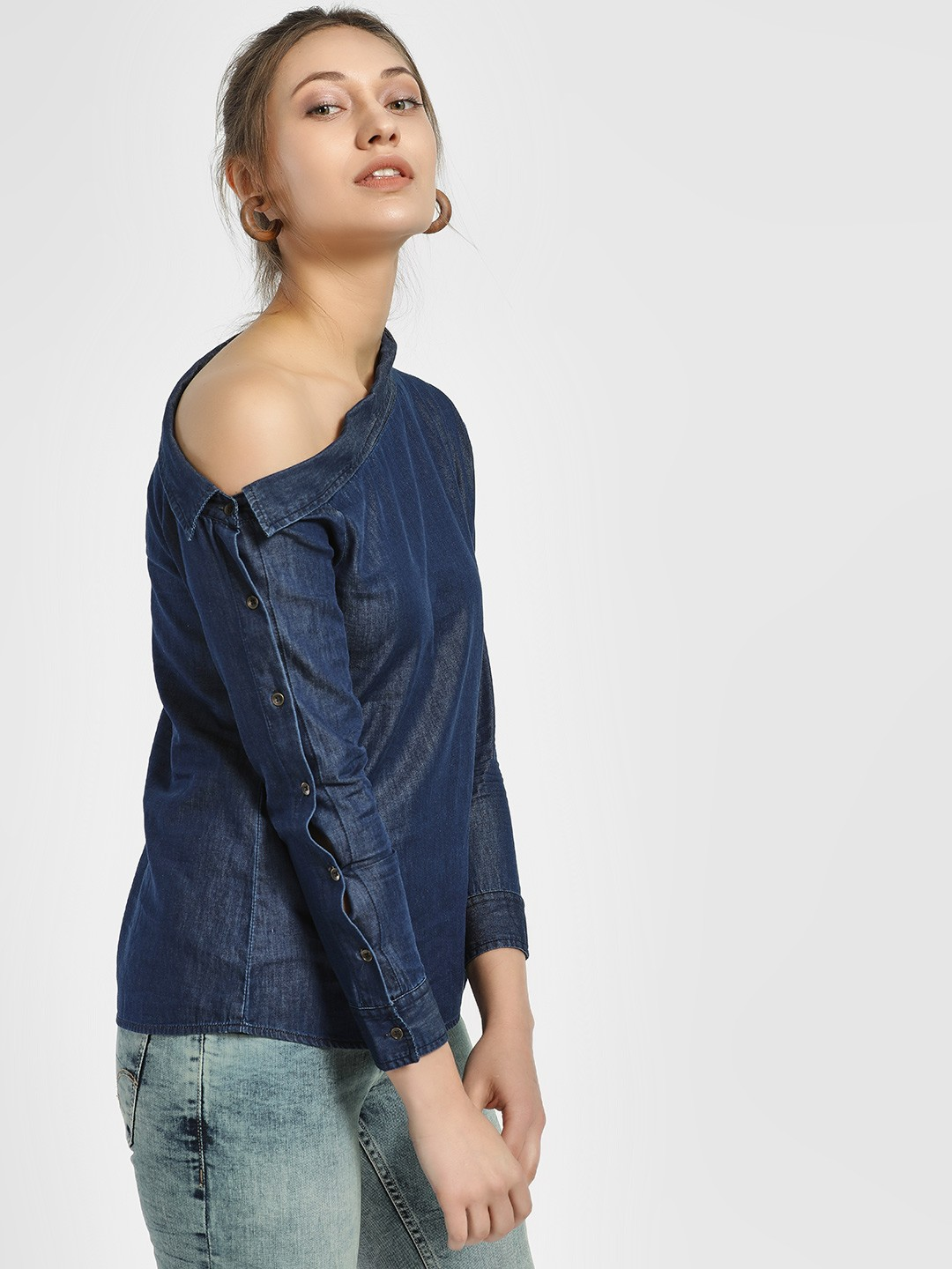 HEY Blue One Shoulder Chambray Blouse 1