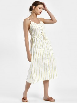 Daisy Street Vertical Stripe Button-Down Midi Dress