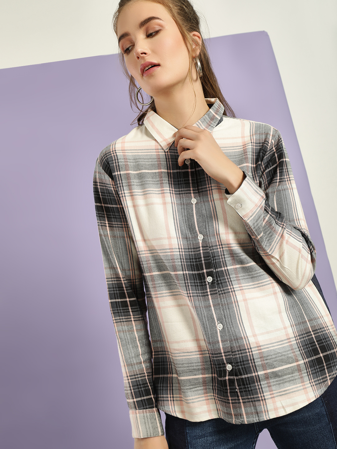 Daisy Street Multi Yarn Dyed Check Shirt 1