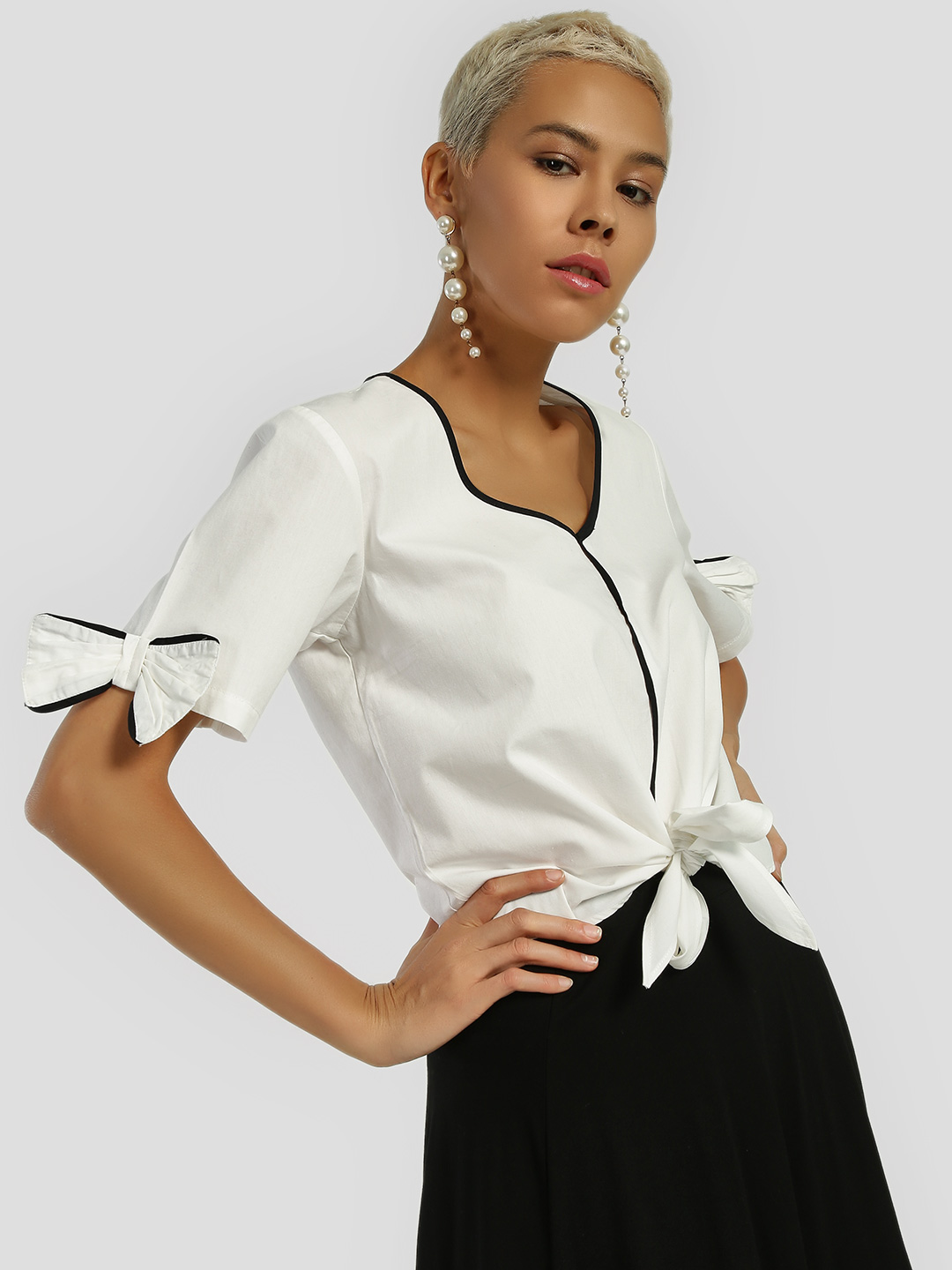 Ri-Dress White Bow Tie Front Knot Crop Top 1