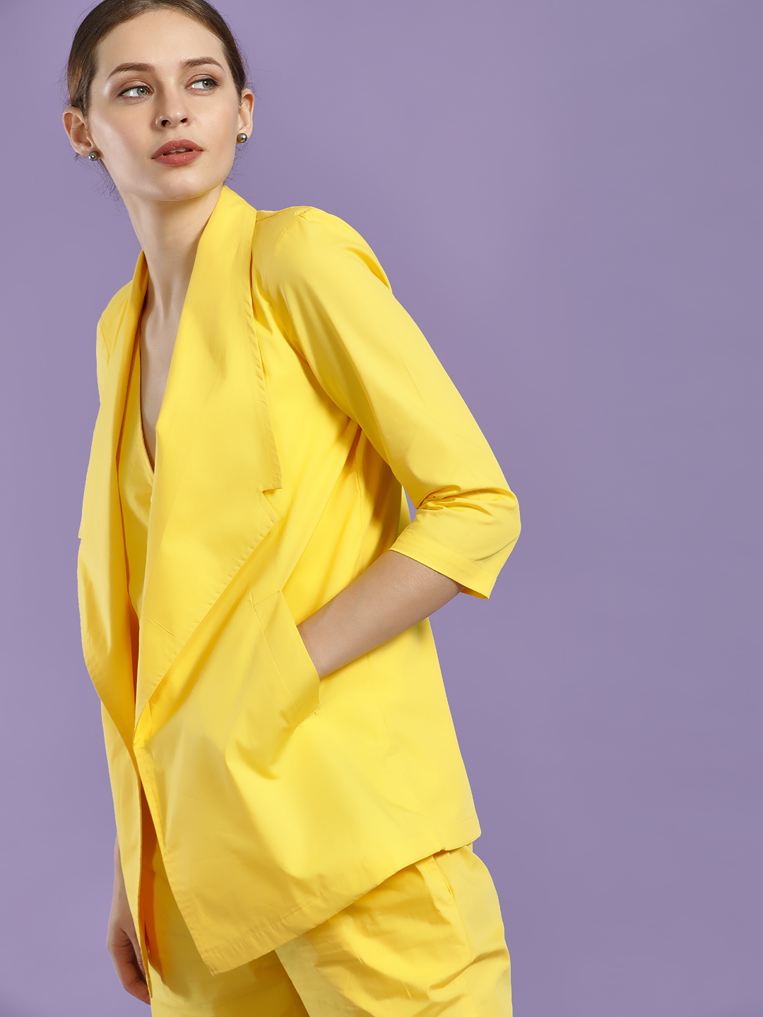 Closet Drama Yellow Notched Lapel Collar Blazer 1