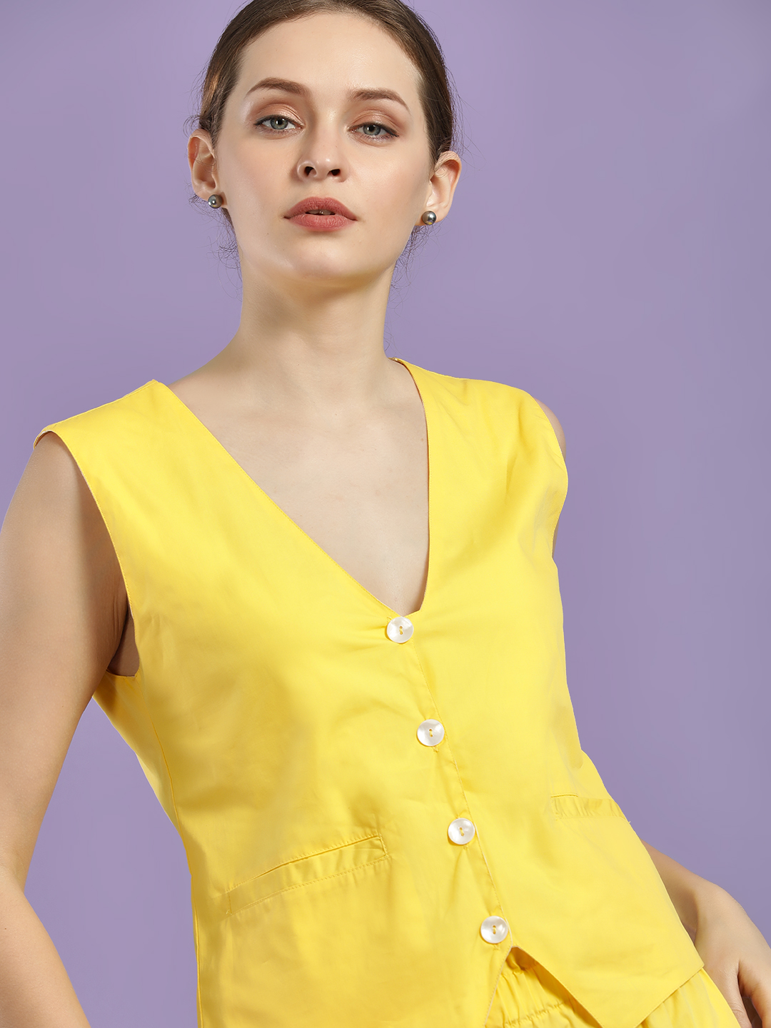 Closet Drama Yellow Button Detail Sleeveless Waistcoat 1