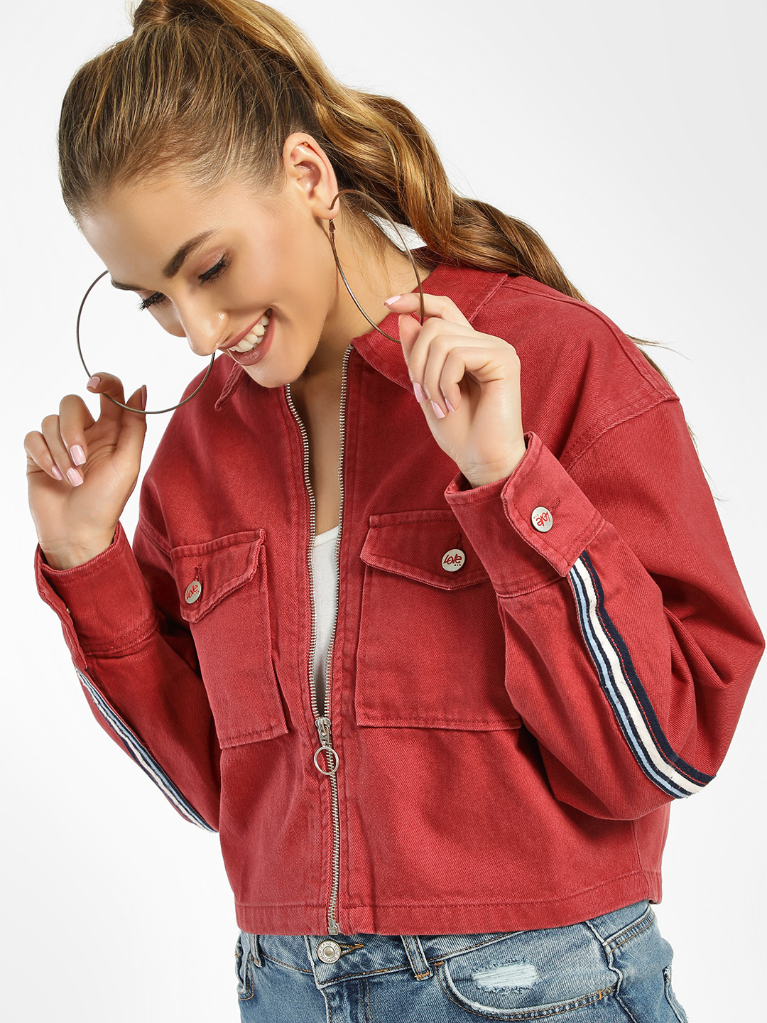 LOVEGEN Red Contrast Tape D-Ring Cropped Jacket 1