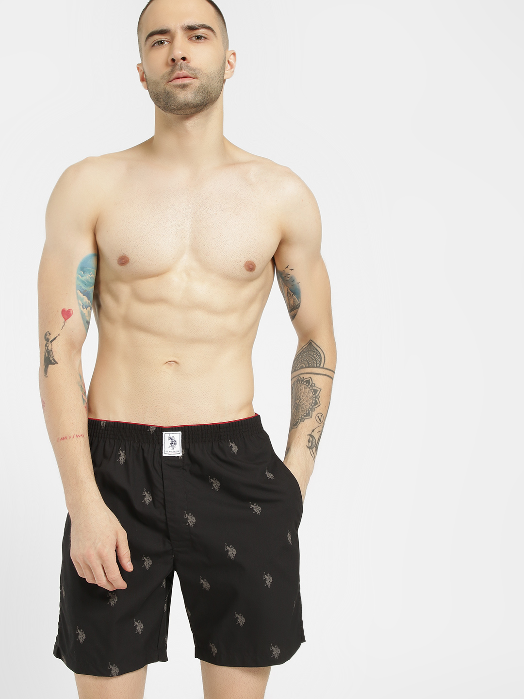 US. Polo. Assn. Black All Over Print Boxers 1