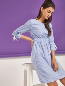 NUSH Stripe Eyelet Sleeve Shift Dress