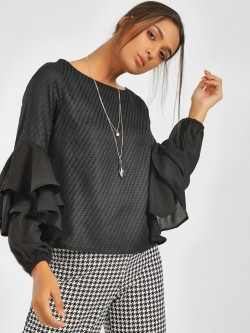 NUSH Long Flared Sleeve Blouse