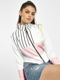 NUSH Colour Block Stripe Crop Jacket