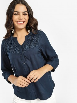 NUSH V-Neck Lace Yoke Blouse