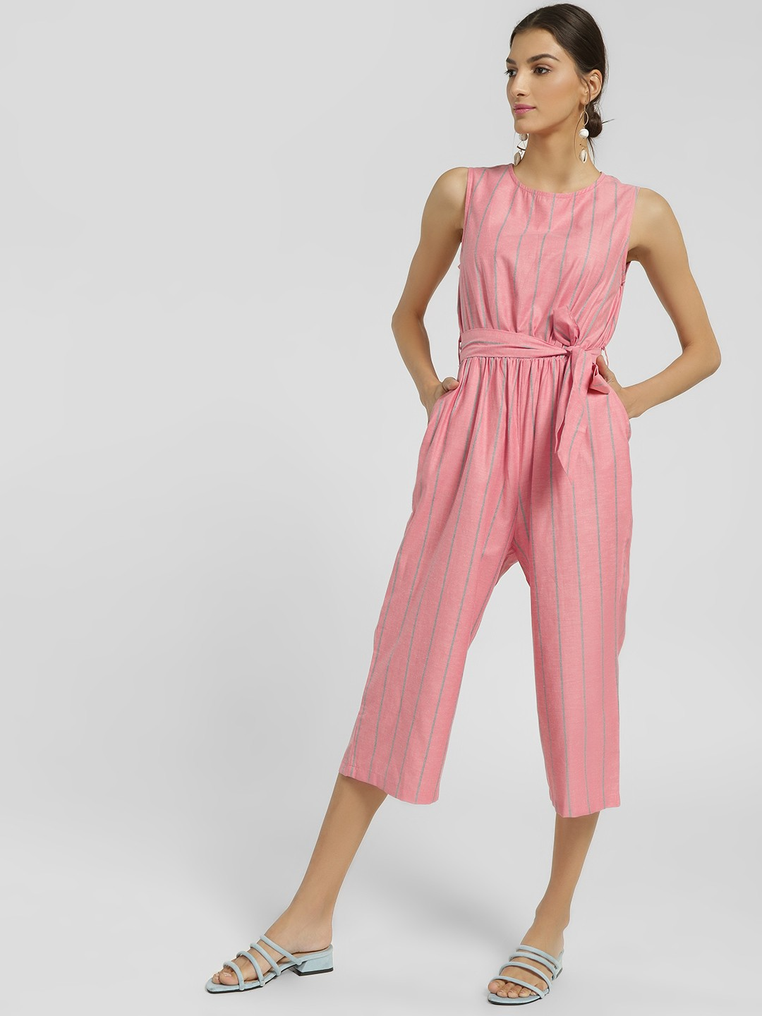 NUSH Pink Stripe Sleeveless Cropped Jumpsuit 1