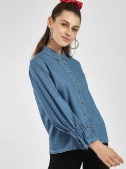 NUSH Bell Sleeve Denim Shirt