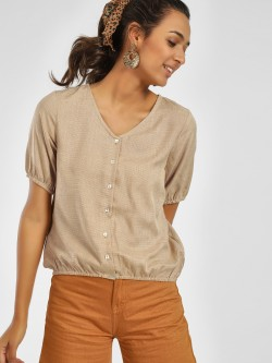 NUSH Front Button Short Sleeve Blouse