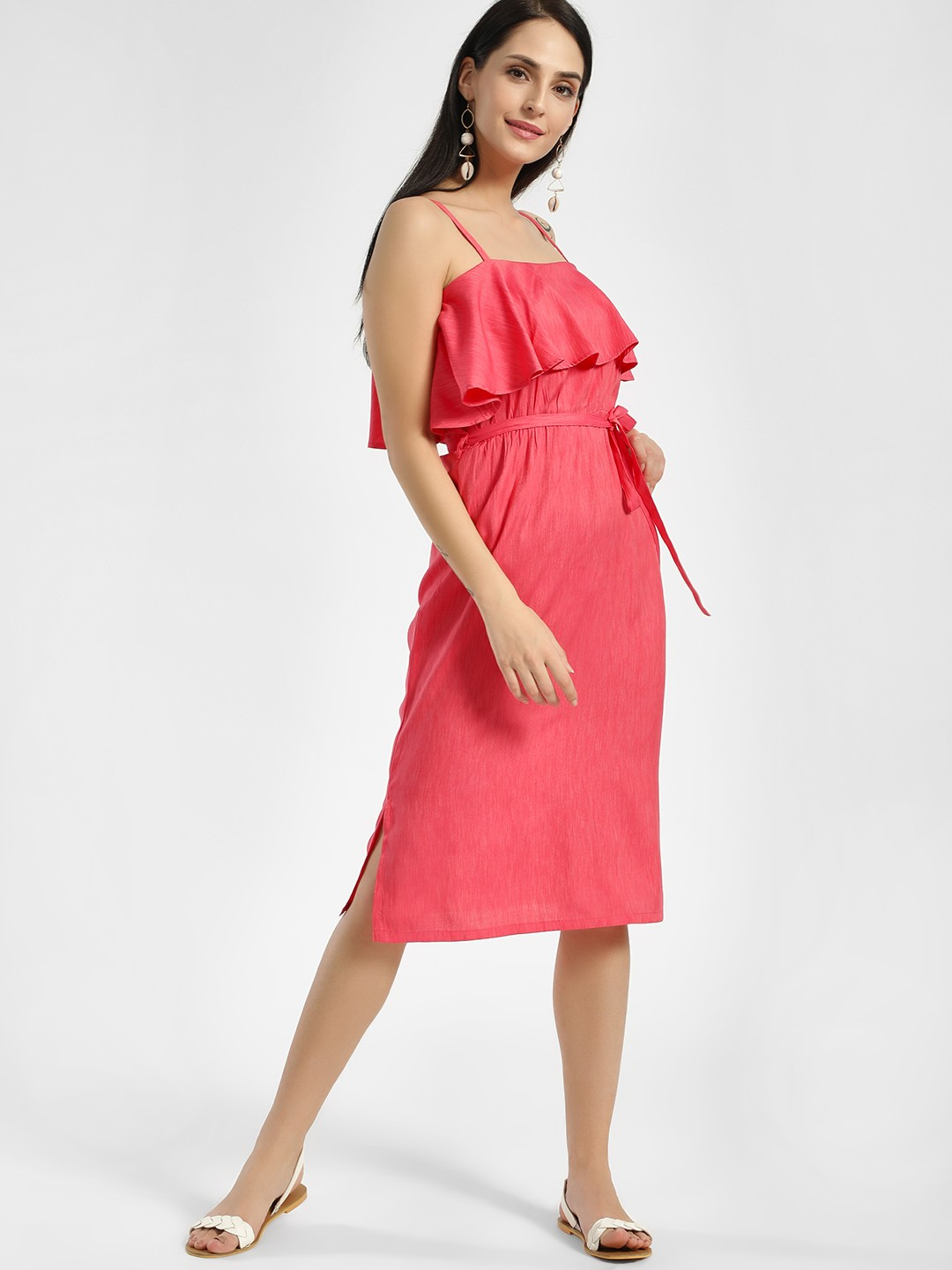 NUSH Pink Overlay Strappy Midi Dress 1