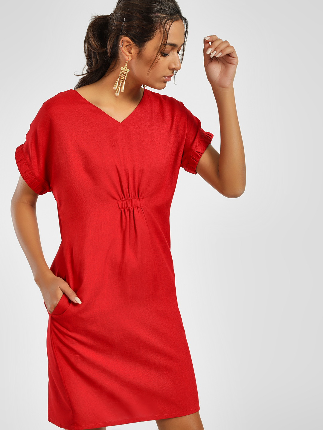 NUSH Red Cinched Waist Shift Dress 1
