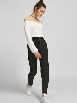 NUSH Paperbag Waist Belted Trousers