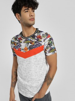 KOOVS Chevron Tropical Print T-Shirt