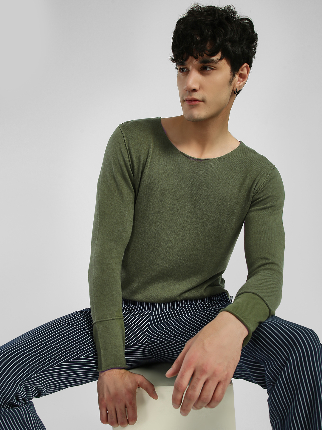 KOOVS Green Flat Knit Lightweight T-Shirt 1